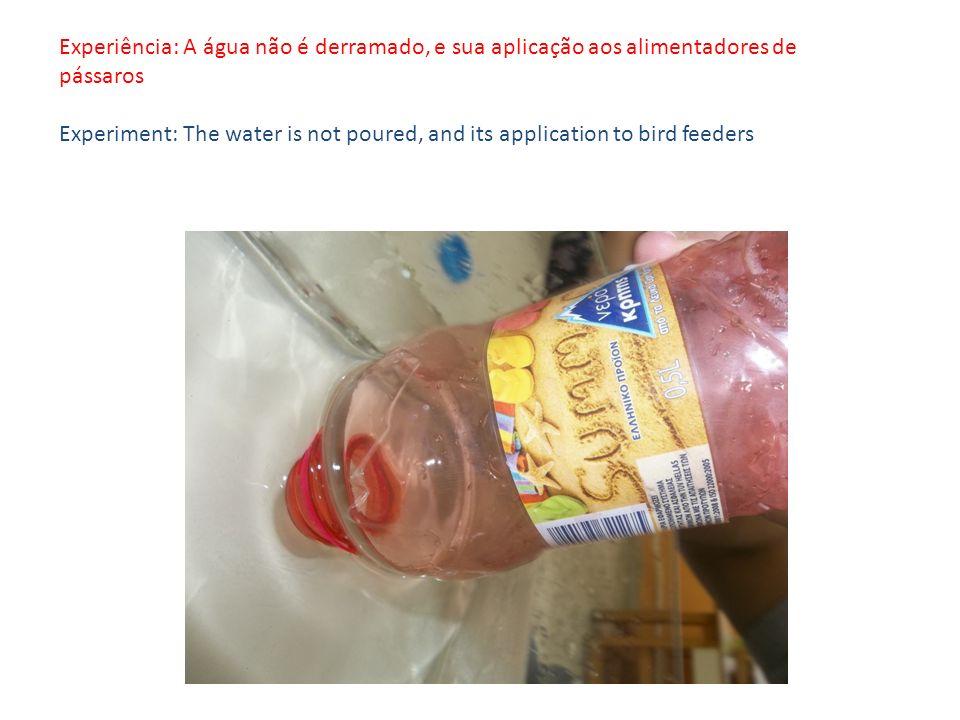 Experiência: A água não é derramado, e sua aplicação aos alimentadores de pássaros Experiment: The water is not poured, and its application to bird feeders