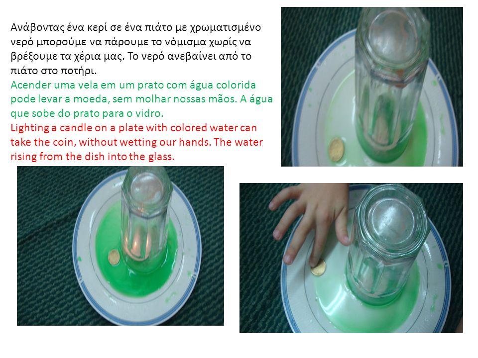 Ανάβοντας ένα κερί σε ένα πιάτο με χρωματισμένο νερό μπορούμε να πάρουμε το νόμισμα χωρίς να βρέξουμε τα χέρια μας.