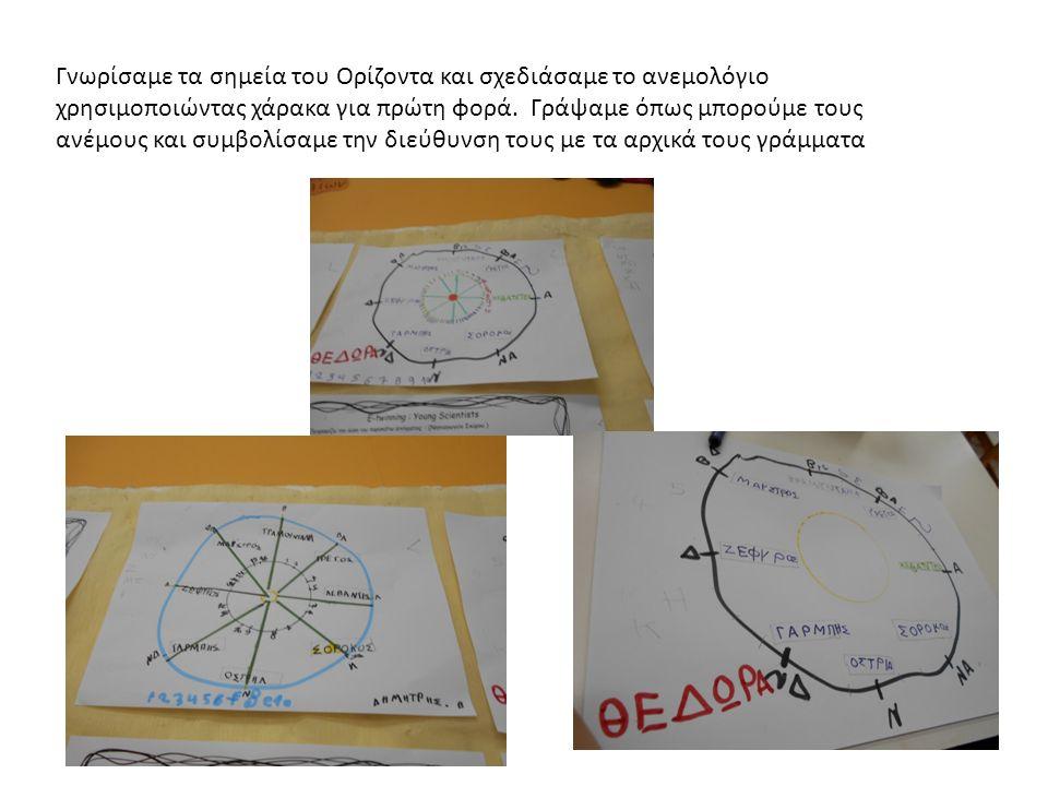 Γνωρίσαμε τα σημεία του Ορίζοντα και σχεδιάσαμε το ανεμολόγιο χρησιμοποιώντας χάρακα για πρώτη φορά.