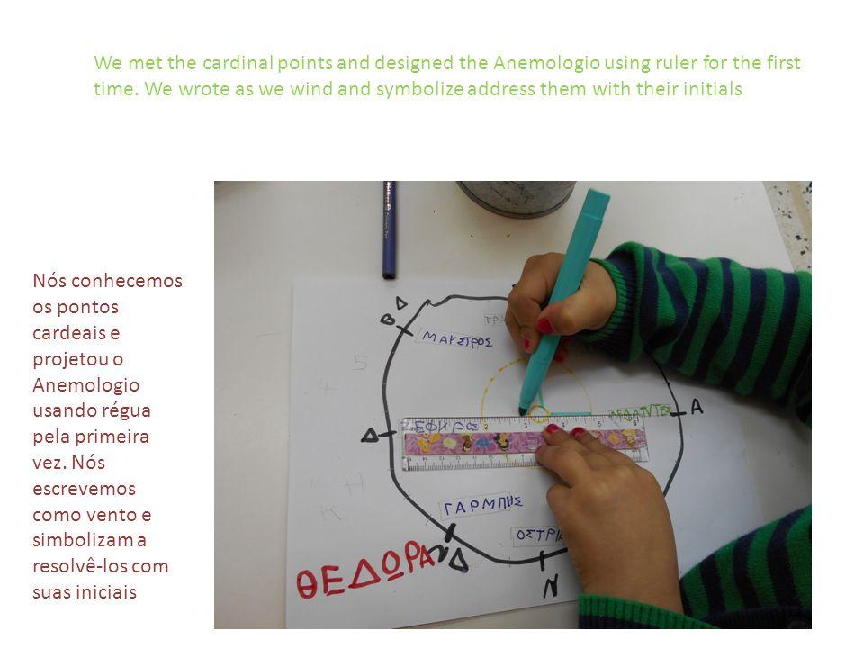 Nós conhecemos os pontos cardeais e projetou o Anemologio usando régua pela primeira vez.