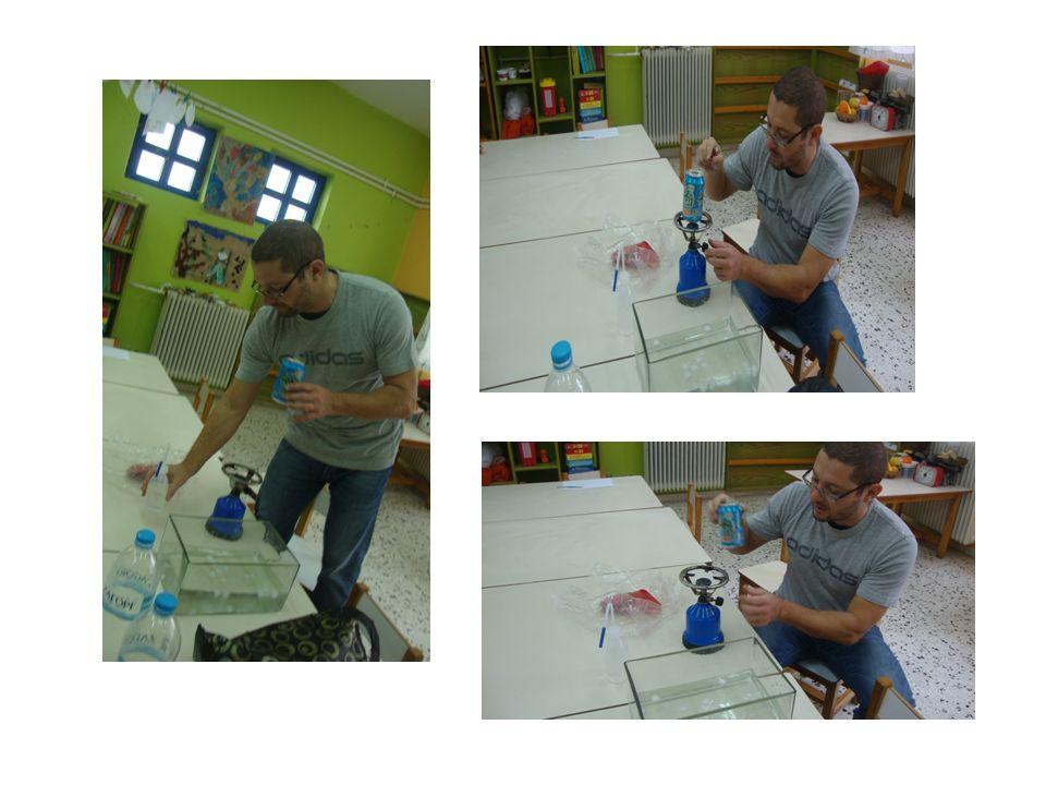 Πείραμα: Κάνοντας μια μικρή τρυπούλα στο πλαστικό μπουκάλι και κλείνοντας αυτή με πλαστελίνη Experiência: Fazendo um pequeno buraco na garrafa de plástico e fechá-lo com plasticina Experiment: Making a small hole in the plastic bottle and closing it with plasticine
