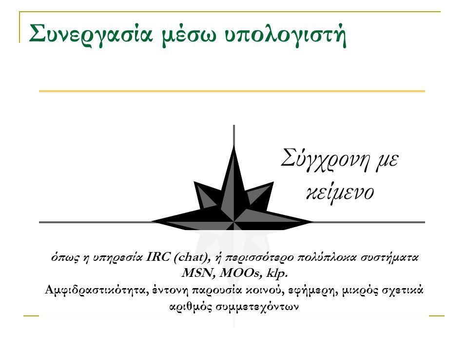 Συνεργασία μέσω υπολογιστή Σύγχρονη με κείμενο όπως η υπηρεσία IRC (chat), ή περισσότερο πολύπλοκα συστήματα MSN, MOOs, klp.