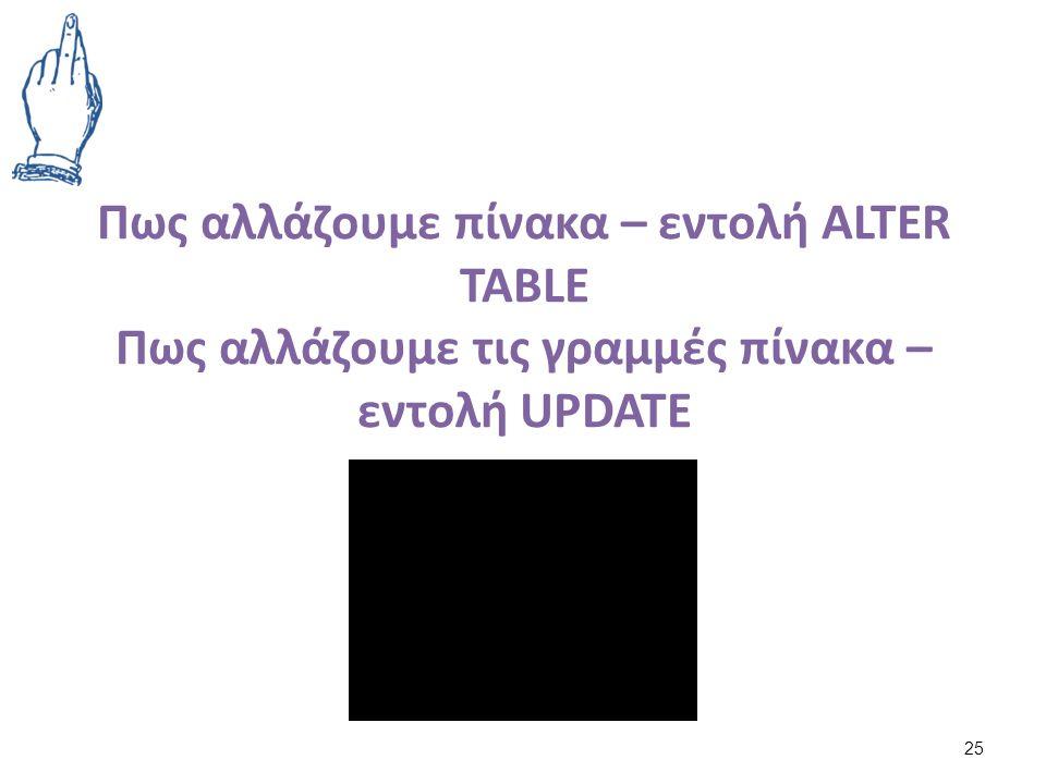 Πως αλλάζουμε πίνακα – εντολή ALTER TABLE Πως αλλάζουμε τις γραμμές πίνακα – εντολή UPDATE 25
