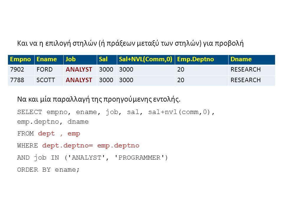Και να η επιλογή στηλών (ή πράξεων μεταξύ των στηλών) για προβολή EmpnoEnameJobSalSal+NVL(Comm,0)Emp.DeptnoDname 7902FORDANALYST3000 20RESEARCH 7788SCOTTANALYST3000 20RESEARCH Να και μία παραλλαγή της προηγούμενης εντολής.