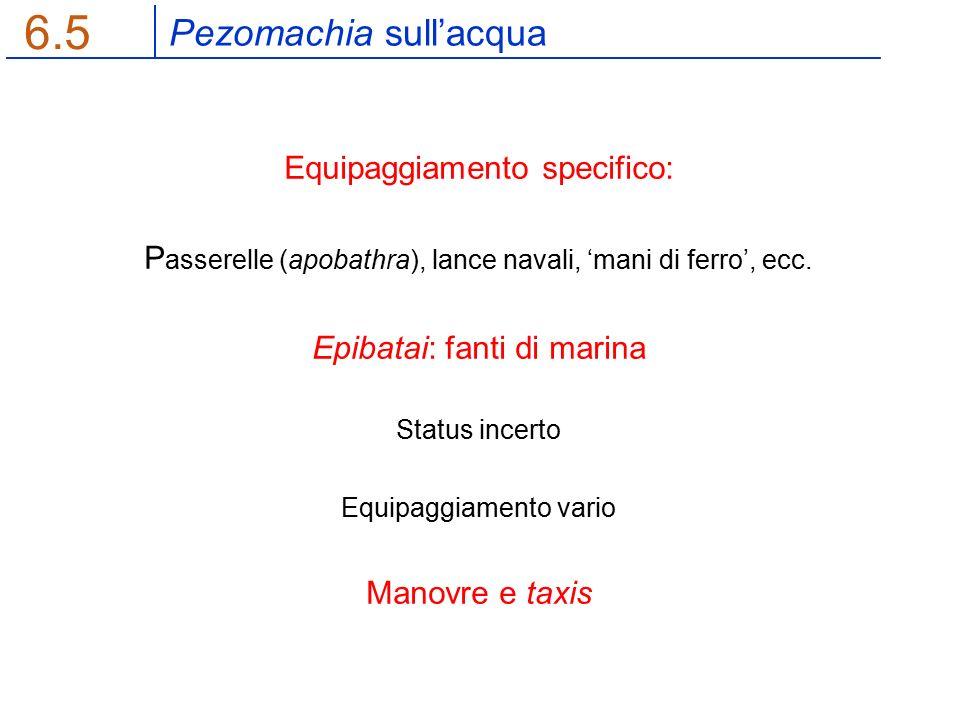 Pezomachia sull'acqua 6.5 Equipaggiamento specifico: P asserelle (apobathra), lance navali, 'mani di ferro', ecc.