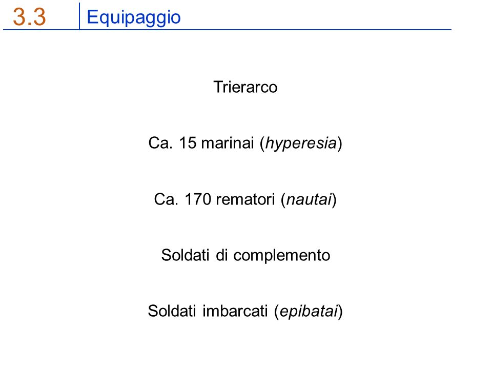 Equipaggio 3.3 Trierarco Ca. 15 marinai (hyperesia) Ca.