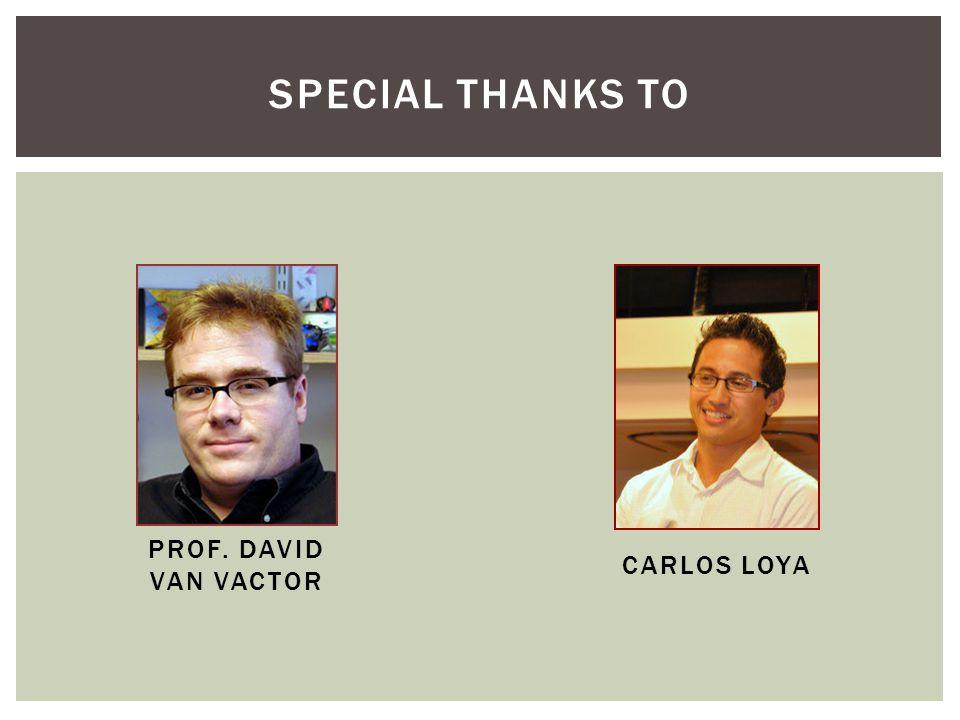 SPECIAL THANKS TO PROF. DAVID VAN VACTOR CARLOS LOYA