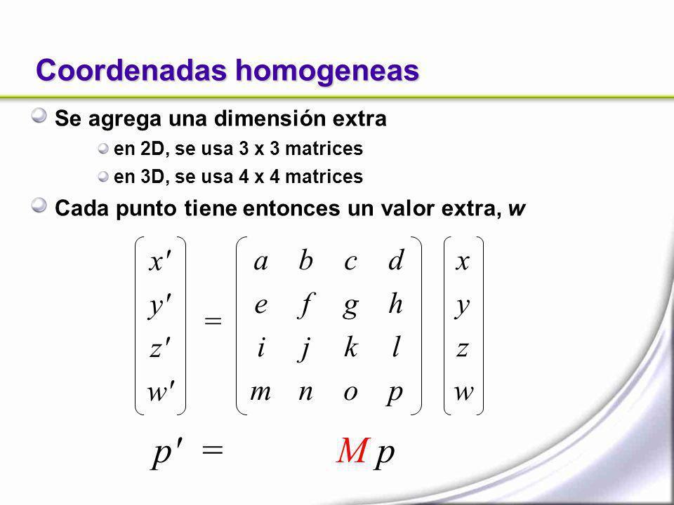 Coordenadas homogeneas Se agrega una dimensión extra en 2D, se usa 3 x 3 matrices en 3D, se usa 4 x 4 matrices Cada punto tiene entonces un valor extr