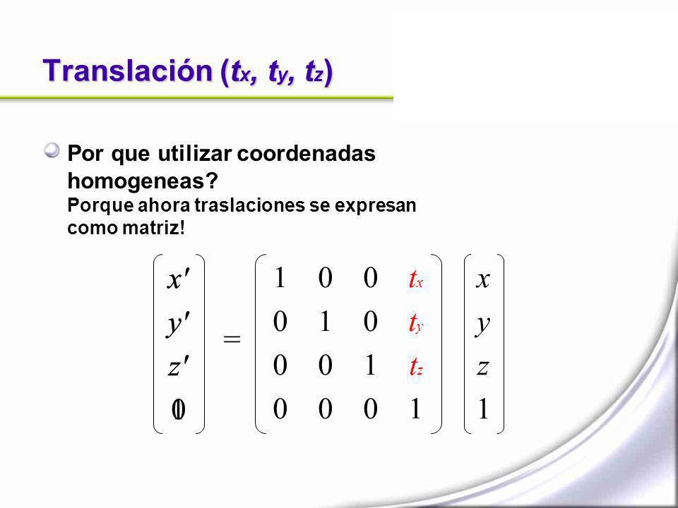 Translación (t x, t y, t z ) Por que utilizar coordenadas homogeneas? Porque ahora traslaciones se expresan como matriz! x' y' z' 0 = xyz1xyz1 1 0 0 0
