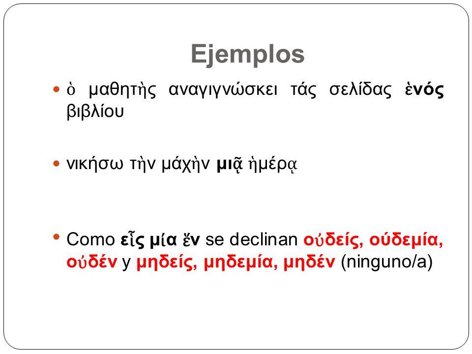 El número 2 Masc-Fem-Neutro Nominativo-Acusativo δ ο Genitivo-Dativo δυο ν El numeral 2 se declina siguiendo el modelo de la antigua forma del DUAL: era una categoría gramatical del número, como el singular y el plural, que expresaba dos objetos que constituyen una pareja natural (ojos, manos), o circunstancial (ambos).