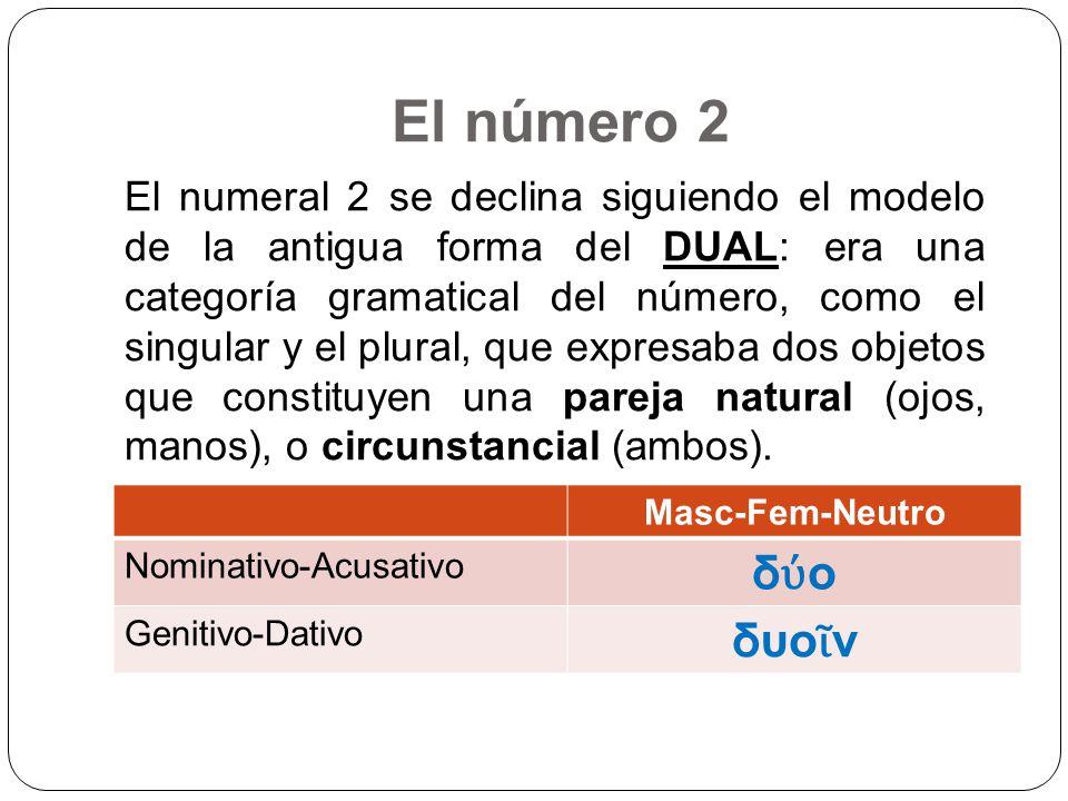 El número 2 Masc-Fem-Neutro Nominativo-Acusativo δ ο Genitivo-Dativo δυο ν El numeral 2 se declina siguiendo el modelo de la antigua forma del DUAL: e
