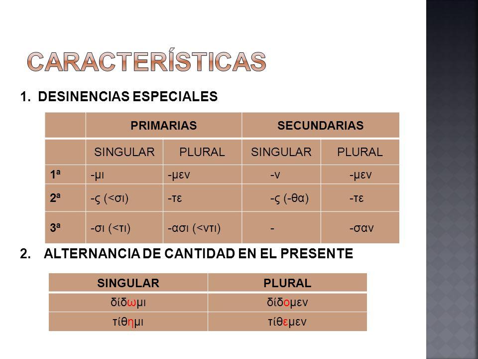 PRIMARIASSECUNDARIAS SINGULARPLURALSINGULARPLURAL 1ª-μι-μεν-ν-μεν 2ª-ς (<σι)-τε-ς (-θα)-τε 3ª-σι (<τι)-ασι (<ντι)--σαν 1.DESINENCIAS ESPECIALES 2.ALTE