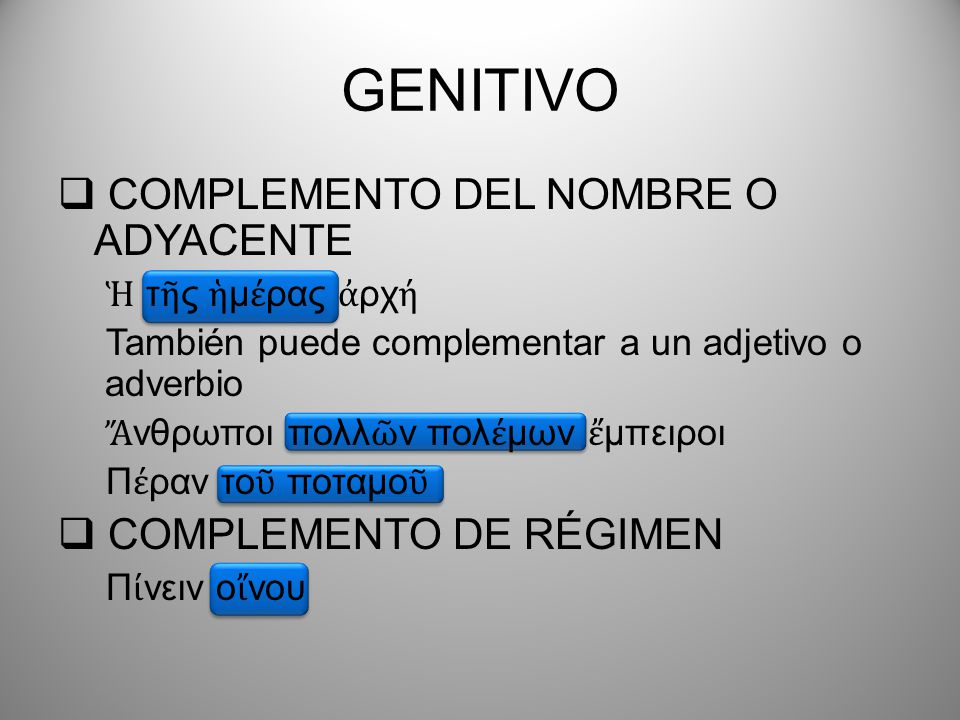 GENITIVO COMPLEMENTO DEL NOMBRE O ADYACENTE τ ς μ ρας ρχ También puede complementar a un adjetivo o adverbio νθρωποι πολλ ν πολ μων μπειροι Π ραν το π