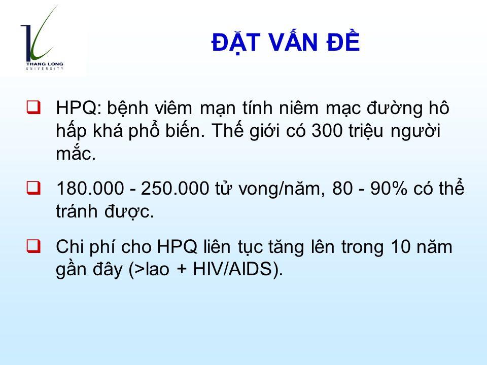 ĐẶT VẤN ĐỀ  HPQ: bệnh viêm mạn tính niêm mạc đường hô hấp khá phổ biến.