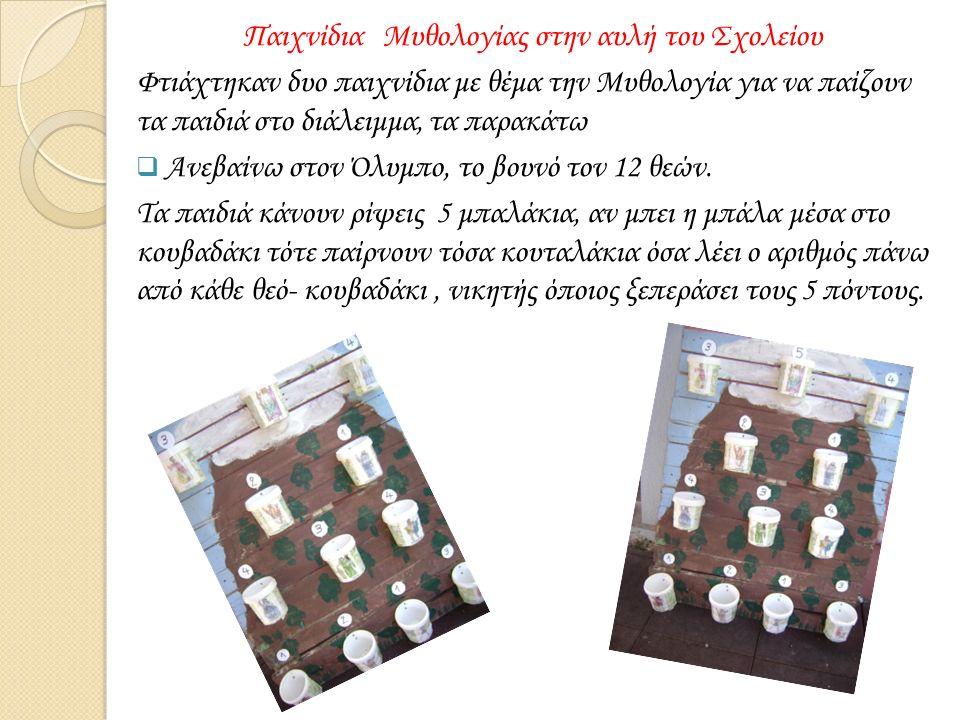 Παιχνίδια Μυθολογίας στην αυλή του Σχολείου Φτιάχτηκαν δυο παιχνίδια με θέμα την Μυθολογία για να παίζουν τα παιδιά στο διάλειμμα, τα παρακάτω  Ανεβαίνω στον Όλυμπο, το βουνό τον 12 θεών.