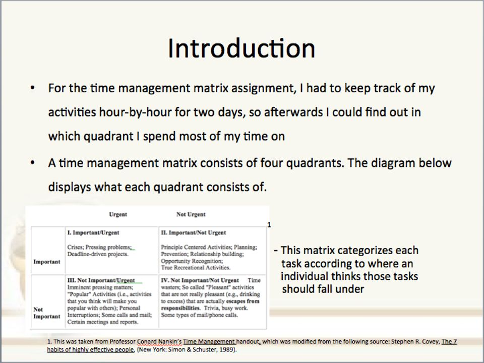 Afterwards, the data collected over the past two days is plugged into 1 the time management matrix.