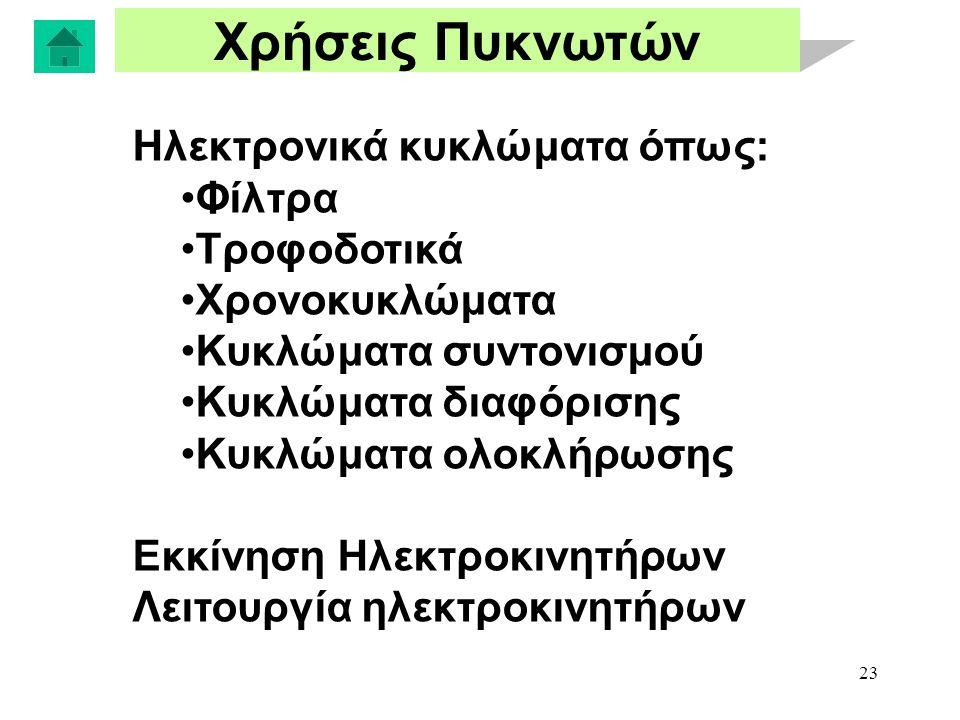 23 Χρήσεις Πυκνωτών Ηλεκτρονικά κυκλώματα όπως: Φίλτρα Τροφοδοτικά Χρονοκυκλώματα Κυκλώματα συντονισμού Κυκλώματα διαφόρισης Κυκλώματα ολοκλήρωσης Εκκίνηση Ηλεκτροκινητήρων Λειτουργία ηλεκτροκινητήρων