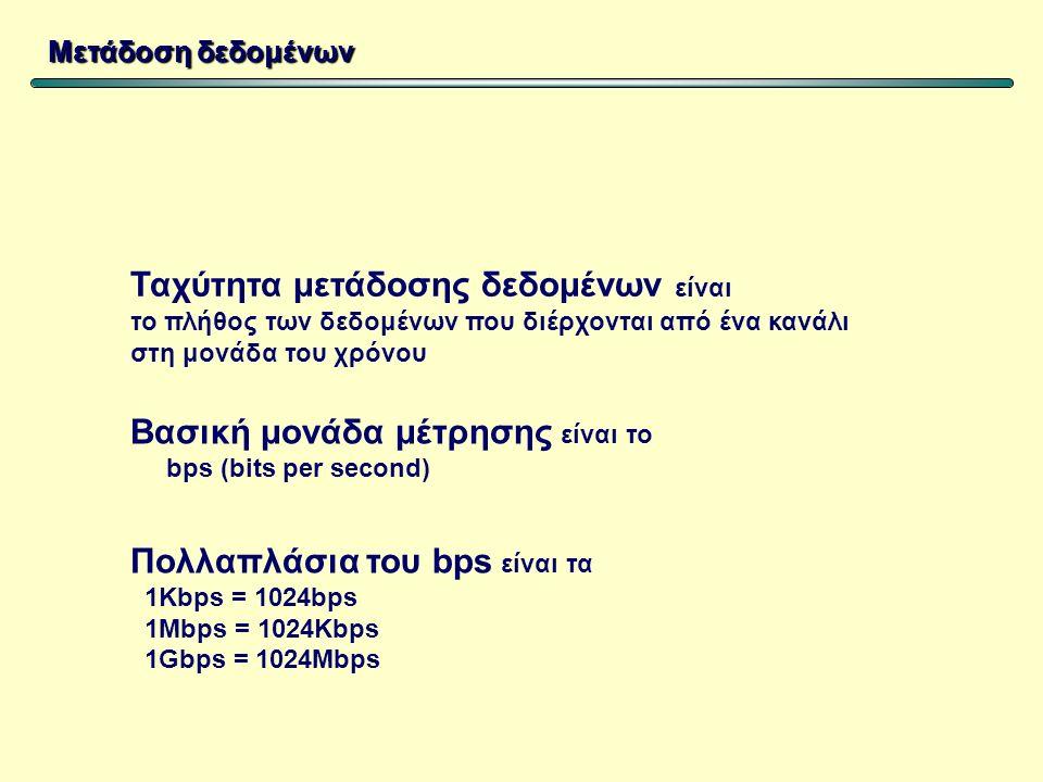 Ταχύτητα μετάδοσης δεδομένων είναι το πλήθος των δεδομένων που διέρχονται από ένα κανάλι στη μονάδα του χρόνου Βασική μονάδα μέτρησης είναι το bps (bits per second) Πολλαπλάσια του bps είναι τα 1Kbps = 1024bps 1Mbps = 1024Kbps 1Gbps = 1024Mbps