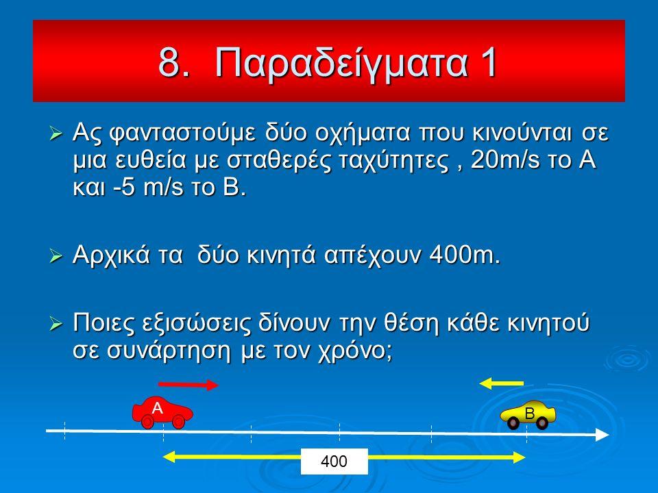  Ας φανταστούμε δύο οχήματα που κινούνται σε μια ευθεία με σταθερές ταχύτητες, 20m/s το Α και -5 m/s το Β.  Αρχικά τα δύο κινητά απέχουν 400m.  Ποι