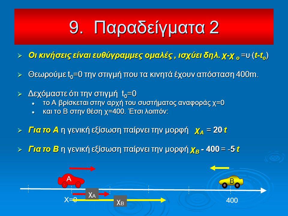  Οι κινήσεις είναι ευθύγραμμες ομαλές, ισχύει δηλ. χ-χ ο =υ. (t-t o )  Θεωρούμε t 0 =0 την στιγμή που τα κινητά έχουν απόσταση 400m.  Δεχόμαστε ότι