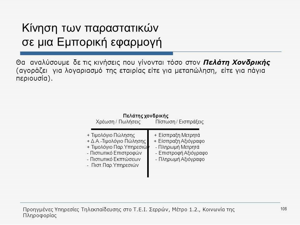 Προηγμένες Υπηρεσίες Τηλεκπαίδευσης στο Τ.Ε.Ι. Σερρών, Μέτρο 1.2., Κοινωνία της Πληροφορίας 108 Κίνηση των παραστατικών σε μια Εμπορική εφαρμογή Θα αν