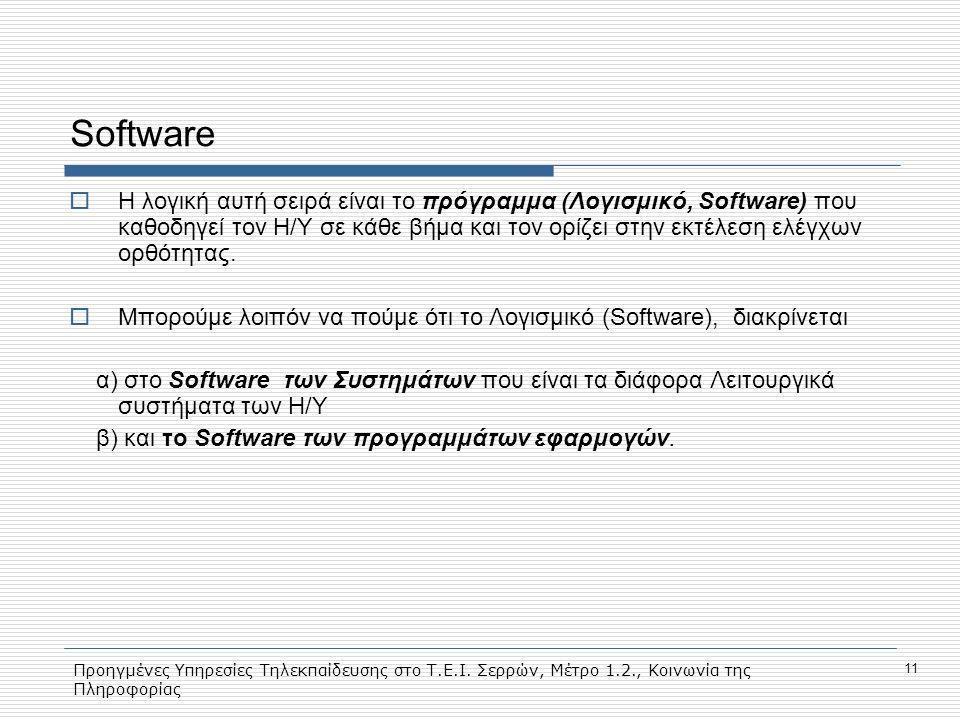 Προηγμένες Υπηρεσίες Τηλεκπαίδευσης στο Τ.Ε.Ι. Σερρών, Μέτρο 1.2., Κοινωνία της Πληροφορίας 11 Software  Η λογική αυτή σειρά είναι το πρόγραμμα (Λογι