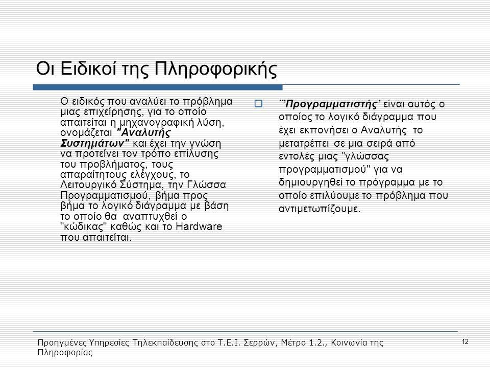 Προηγμένες Υπηρεσίες Τηλεκπαίδευσης στο Τ.Ε.Ι. Σερρών, Μέτρο 1.2., Κοινωνία της Πληροφορίας 12 Οι Ειδικοί της Πληροφορικής O ειδικός που αναλύει το πρ