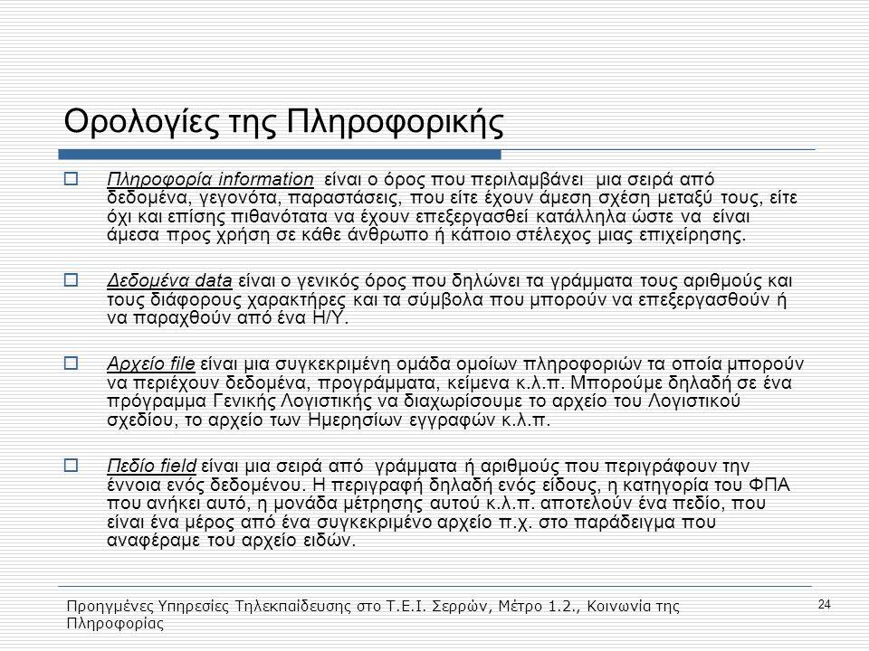 Προηγμένες Υπηρεσίες Τηλεκπαίδευσης στο Τ.Ε.Ι. Σερρών, Μέτρο 1.2., Κοινωνία της Πληροφορίας 24 Ορολογίες της Πληροφορικής  Πληροφορία information είν