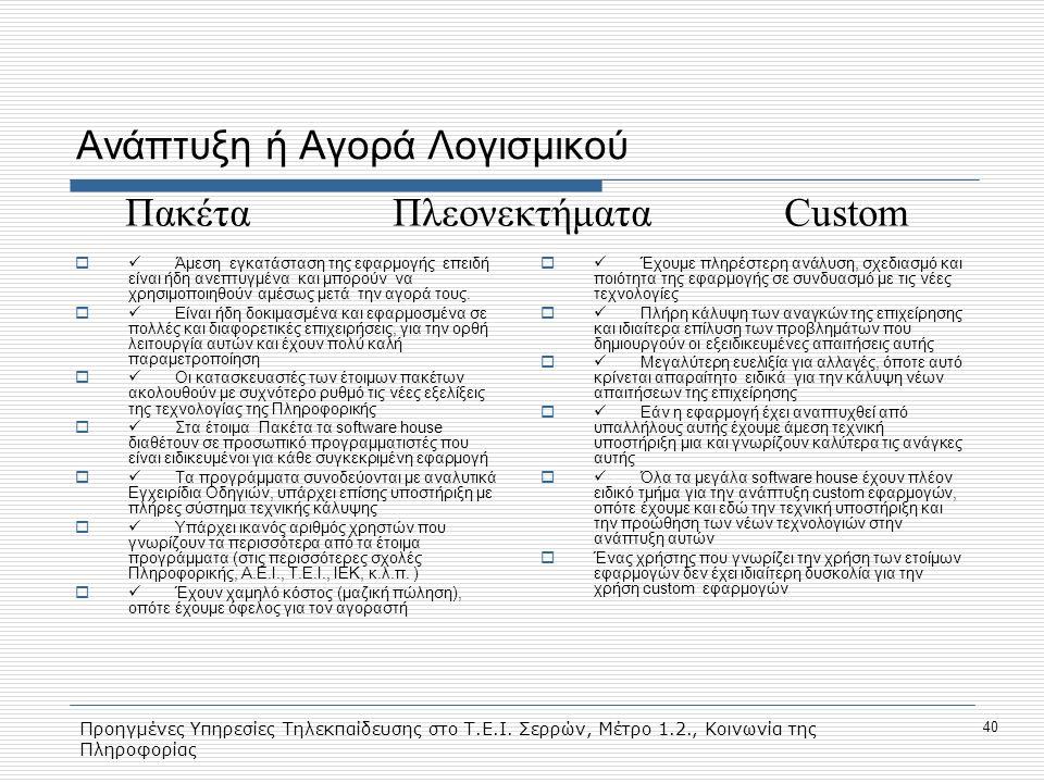 Προηγμένες Υπηρεσίες Τηλεκπαίδευσης στο Τ.Ε.Ι. Σερρών, Μέτρο 1.2., Κοινωνία της Πληροφορίας 40 Ανάπτυξη ή Αγορά Λογισμικού  Άμεση εγκατάσταση της εφα