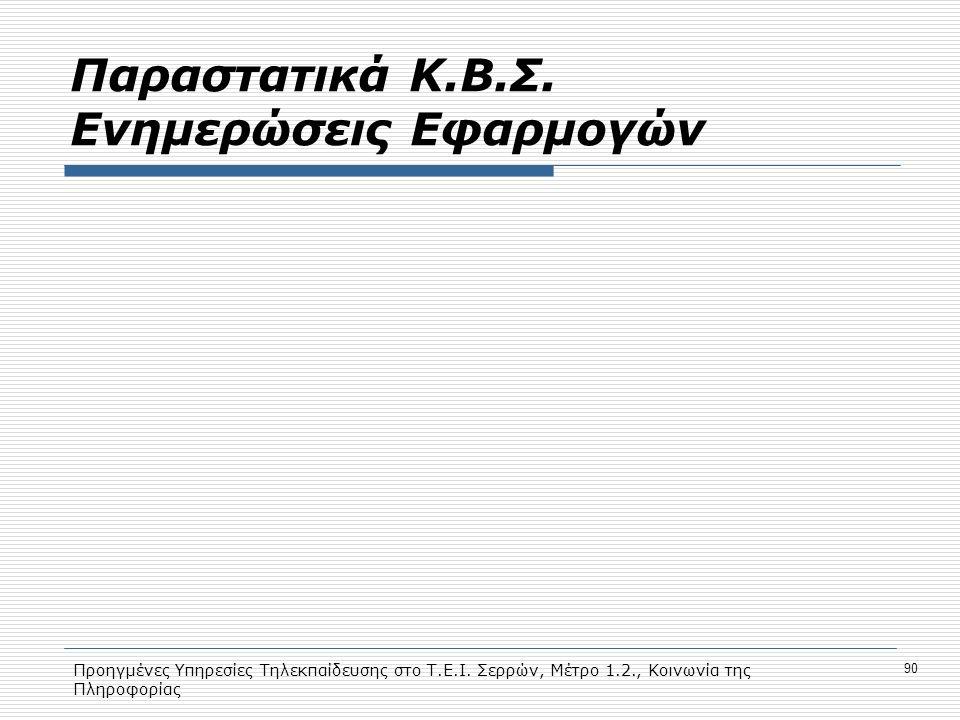 Προηγμένες Υπηρεσίες Τηλεκπαίδευσης στο Τ.Ε.Ι. Σερρών, Μέτρο 1.2., Κοινωνία της Πληροφορίας 90 Παραστατικά Κ.Β.Σ. Ενημερώσεις Εφαρμογών