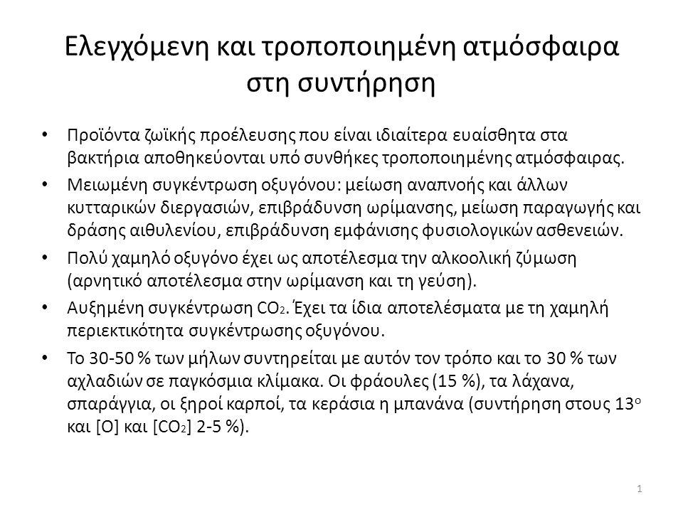 Επίδραση χαμηλής συγκέντρωσης Ο 2 στα οπωροκηπευτικά Με τη μείωση του οξυγόνου παρατηρούνται τα εξής: -Διατήρηση της οξύτητας του χυμού.