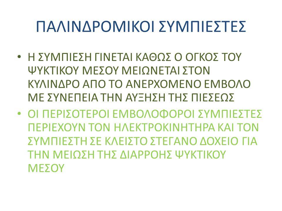 ΄ x % ΚΥΚΛΟΣ ΜΗΧΑΝΙΚΗΣ ΣΥΜΠΙΕΣΗΣ ΑΤΜΩΝ HFC 134 - A ΣΗΜΕΙΑ 1-2 ΣΥΜΠΙΕΣΗ ΣΗΜΕΙΑ 2 – 2΄΄ ΑΠΟΒΟΛΗ ΘΕΡΜΟΤΗΤΑΣ ΚΑΙ ΜΕΤΑΤΡΟΠΗ ΤΟΥ ΣΕ Κ.Α ΑΠΟ Υ.Α (ΣΥΜΠΥΚΝΩΤΗΣ) ΣΗΜΕΙΑ 2- 3 ΣΥΜΠΥΚΝΩΣΗ (ΣΥΜΠΥΚΝΩΤΗΣ) ΣΗΜΕΙΑ 3- 4 ΕΚΤΟΝΩΣΗ ΣΗΜΕΙΑ 4 – 1 ΑΤΜΟΠΟΙΗΣΗ 2 3 1 4 2 ΨΥΚΤΙΚΗ ΙΣΧΥΣ (ΣΕ KW) QΨ = m ( h1 – h4 ) ΕΙΔΙΚΗ ΘΕΡΜΟΤΗΤΑ ΨΥΞΕΩΣ (ΕΙΔΙΚΗ ΨΥΚΤΙΚΗ ΙΣΧΥΣ) qψ = ( h1 – h4) Οπου m η παροχή μάζας του ψυκτικού μέσου ΣΗΜΕΙΩΣΗ Η ΑΠΟΒΟΛΗ ΘΕΡΜΟΤΗΤΑΣ ΤΟΥ ΨΥΚΤΙΚΟΥ ΜΕΣΟΥ ΑΡΧΙΖΕΙ ΣΤΟ ΣΗΜΕΙΟ 2 (Υ.Α) ΚΑΙ ΠΡΑΓΜΑΤΟΠΟΙΕΙΤΑΙ ΜΕΣΑ ΣΤΟΝ ΣΥΜΠΥΚΝΩΤΗ ΩΣ ΕΞΗΣ: Y.A –> K.A –> YΓΡΟΣ ΑΤΜΟΣ –> ΚΟΡΕΣΜΕΝΟ ΥΓΡΟ.