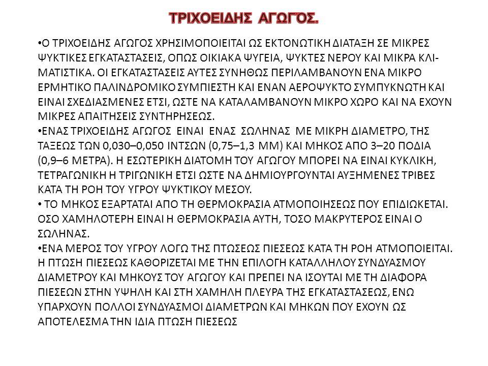 Ο ΤΡΙΧΟΕΙΔΗΣ ΑΓΩΓΟΣ ΧΡΗΣΙΜΟΠΟΙΕΙΤΑΙ ΩΣ ΕΚΤΟΝΩΤΙΚΗ ΔΙΑΤΑΞΗ ΣΕ ΜΙΚΡΕΣ ΨΥΚΤΙΚΕΣ ΕΓΚΑΤΑΣΤΑΣΕΙΣ, ΟΠΩΣ ΟΙΚΙΑΚΑ ΨΥΓΕΙΑ, ΨΥΚΤΕΣ ΝΕΡΟΥ ΚΑΙ ΜΙΚΡΑ ΚΛΙ- ΜΑΤΙΣΤΙΚΑ.