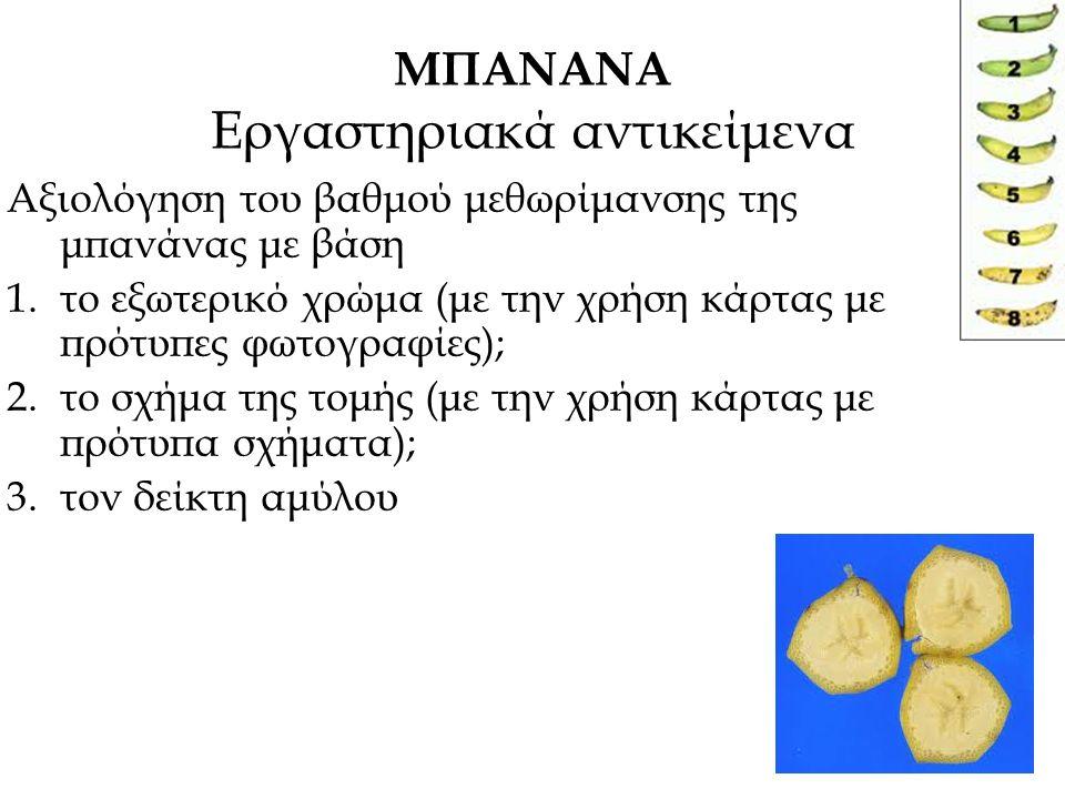 ΜΠΑΝΑΝΑ Εργαστηριακά αντικείμενα Αξιολόγηση του βαθμού μεθωρίμανσης της μπανάνας με βάση 1.το εξωτερικό χρώμα (με την χρήση κάρτας με πρότυπες φωτογρα