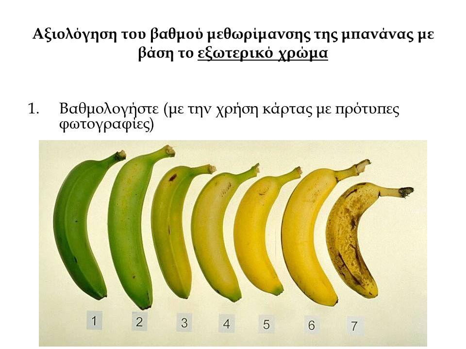 Αξιολόγηση του βαθμού μεθωρίμανσης της μπανάνας με βάση το εξωτερικό χρώμα 1.Βαθμολογήστε (με την χρήση κάρτας με πρότυπες φωτογραφίες)