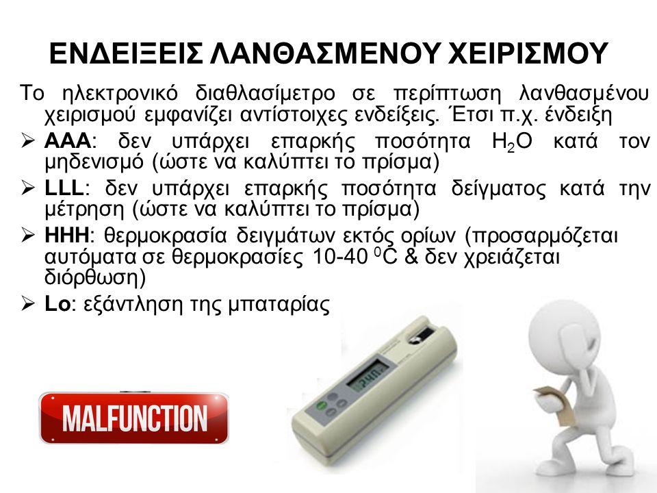 ΕΝΔΕΙΞΕΙΣ ΛΑΝΘΑΣΜΕΝΟΥ ΧΕΙΡΙΣΜΟΥ Το ηλεκτρονικό διαθλασίμετρο σε περίπτωση λανθασμένου χειρισμού εμφανίζει αντίστοιχες ενδείξεις. Έτσι π.χ. ένδειξη  Α