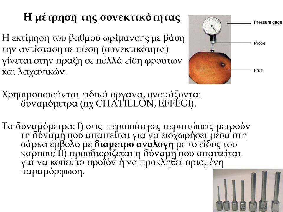 Η μέτρηση της συνεκτικότητας Η εκτίμηση του βαθμού ωρίμανσης με βάση την αντίσταση σε πίεση (συνεκτικότητα) γίνεται στην πράξη σε πολλά είδη φρούτων κ