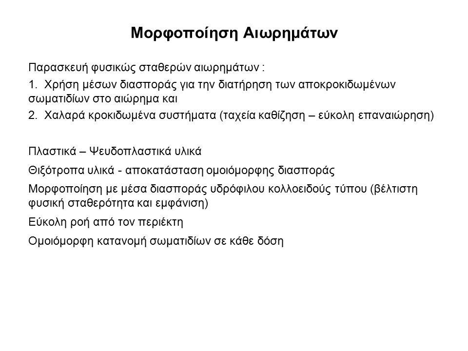 Μορφοποίηση Αιωρημάτων Παρασκευή φυσικώς σταθερών αιωρημάτων : 1. Χρήση μέσων διασποράς για την διατήρηση των αποκροκιδωμένων σωματιδίων στο αιώρημα κ