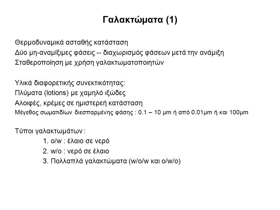 Γαλακτώματα (1) Θερμοδυναμικά ασταθής κατάσταση Δύο μη-αναμίξιμες φάσεις -- διαχωρισμός φάσεων μετά την ανάμιξη Σταθεροποίηση με χρήση γαλακτωματοποιη