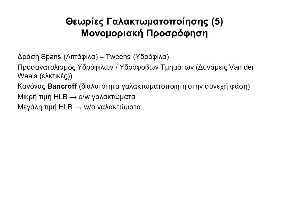 Θεωρίες Γαλακτωματοποίησης (5) Μονομοριακή Προσρόφηση Δράση Spans (Λιπόφιλα) – Tweens (Υδρόφιλα) Προσανατολισμός Υδρόφιλων / Υδρόφοβων Τμημάτων (Δυνάμ