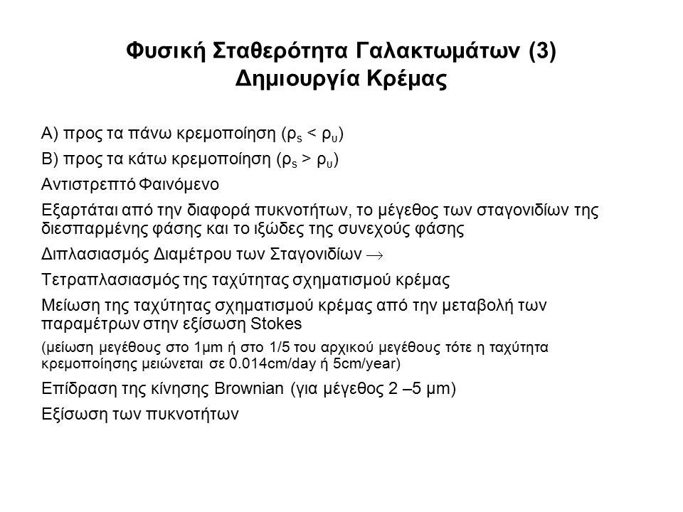 Φυσική Σταθερότητα Γαλακτωμάτων (3) Δημιουργία Κρέμας Α) προς τα πάνω κρεμοποίηση (ρ s < ρ υ ) Β) προς τα κάτω κρεμοποίηση (ρ s > ρ υ ) Αντιστρεπτό Φα