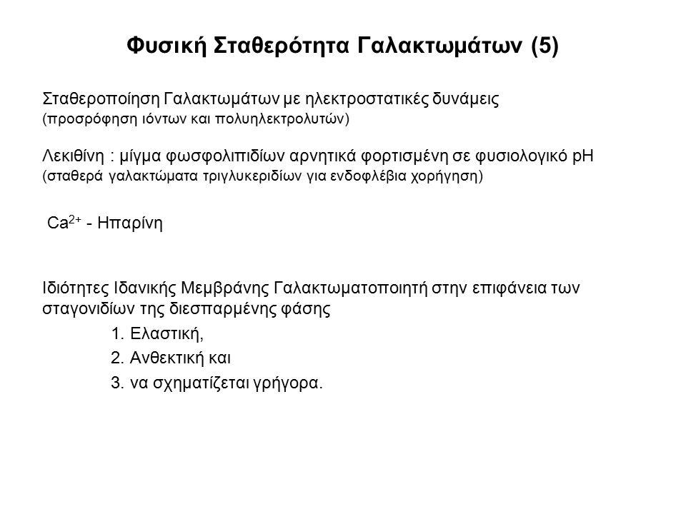 Φυσική Σταθερότητα Γαλακτωμάτων (5) Ιδιότητες Ιδανικής Μεμβράνης Γαλακτωματοποιητή στην επιφάνεια των σταγονιδίων της διεσπαρμένης φάσης 1. Ελαστική,