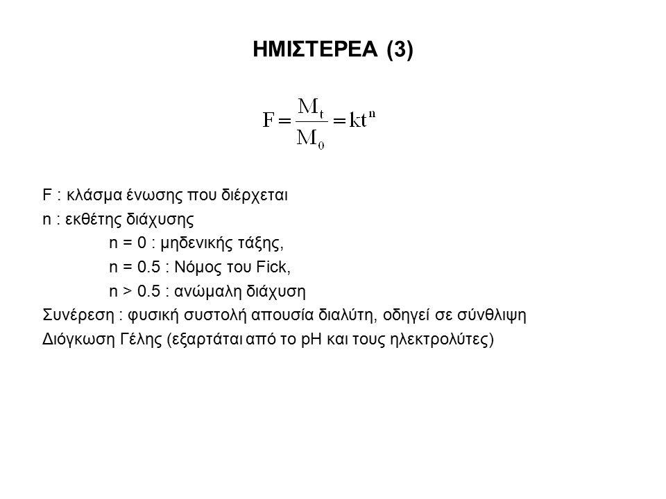 ΗΜΙΣΤΕΡΕΑ (3) F : κλάσμα ένωσης που διέρχεται n : εκθέτης διάχυσης n = 0 : μηδενικής τάξης, n = 0.5 : Νόμος του Fick, n > 0.5 : ανώμαλη διάχυση Συνέρε