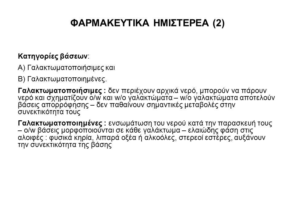 ΦΑΡΜΑΚΕΥΤΙΚΑ ΗΜΙΣΤΕΡΕΑ (2) Κατηγορίες βάσεων: Α) Γαλακτωματοποιήσιμες και Β) Γαλακτωματοποιημένες. Γαλακτωματοποιήσιμες : δεν περιέχουν αρχικά νερό, μ