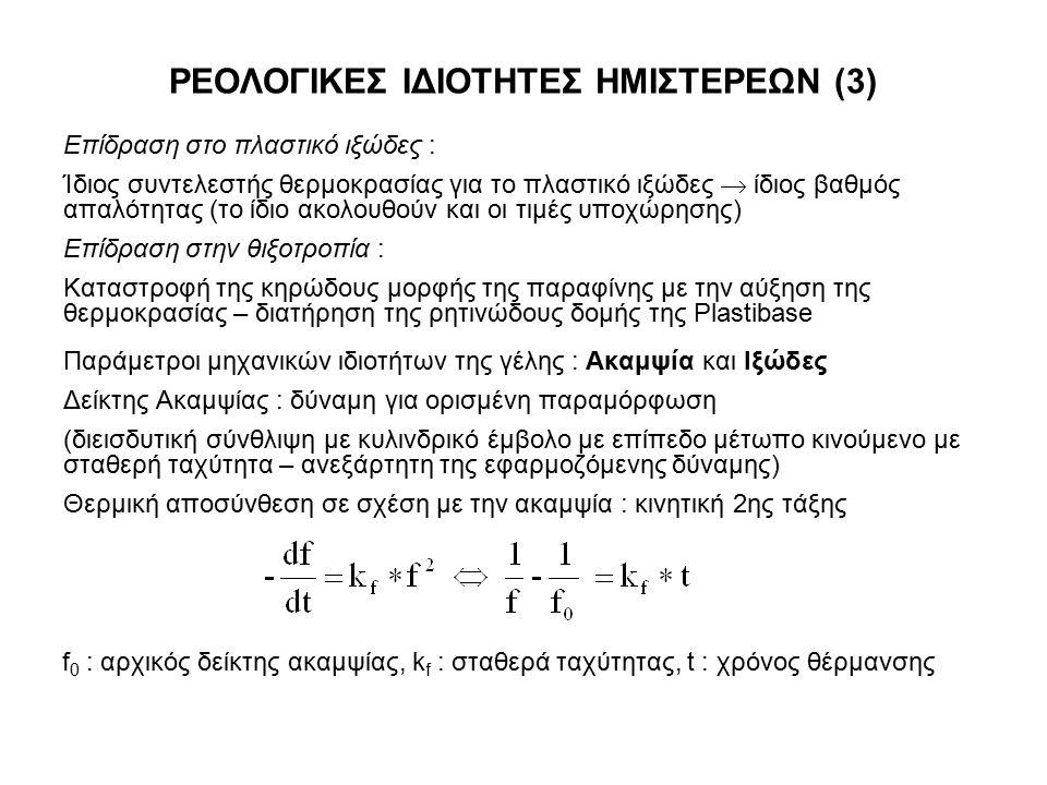 ΡΕΟΛΟΓΙΚΕΣ ΙΔΙΟΤΗΤΕΣ ΗΜΙΣΤΕΡΕΩΝ (3) Επίδραση στο πλαστικό ιξώδες : Ίδιος συντελεστής θερμοκρασίας για το πλαστικό ιξώδες  ίδιος βαθμός απαλότητας (το