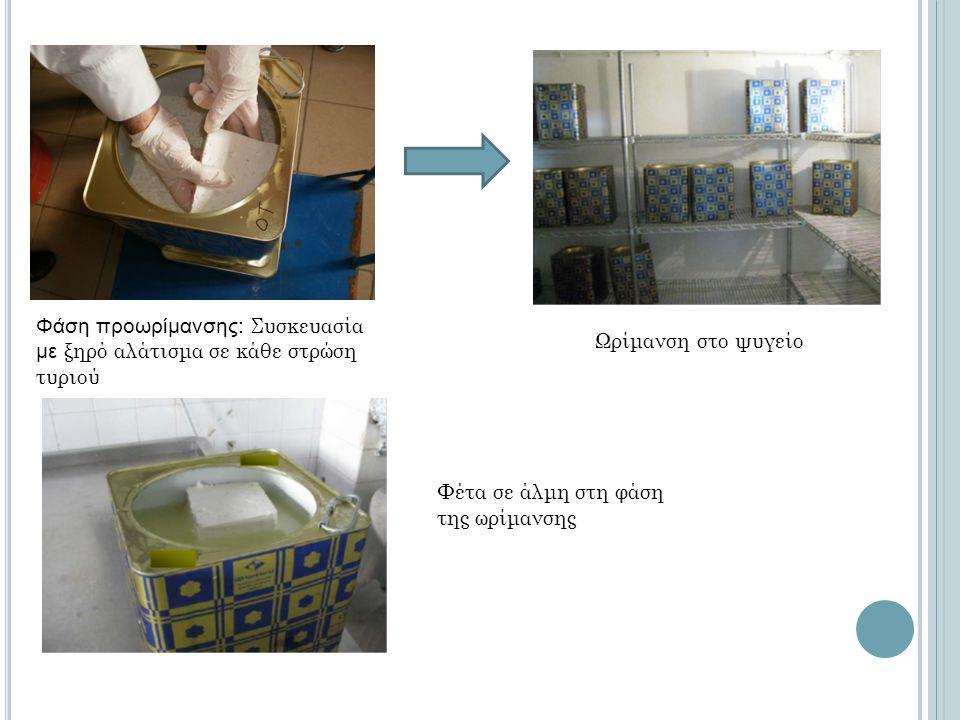 Φάση προωρίμανσης: Συσκευασία με ξηρό αλάτισμα σε κάθε στρώση τυριού Φέτα σε άλμη στη φάση της ωρίμανσης Ωρίμανση στο ψυγείο