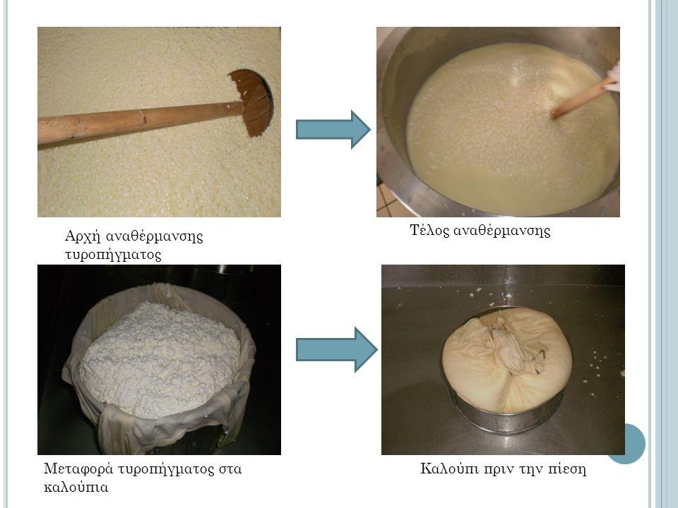 Αρχή αναθέρμανσης τυροπήγματος Τέλος αναθέρμανσης Μεταφορά τυροπήγματος στα καλούπια Καλούπι πριν την πίεση