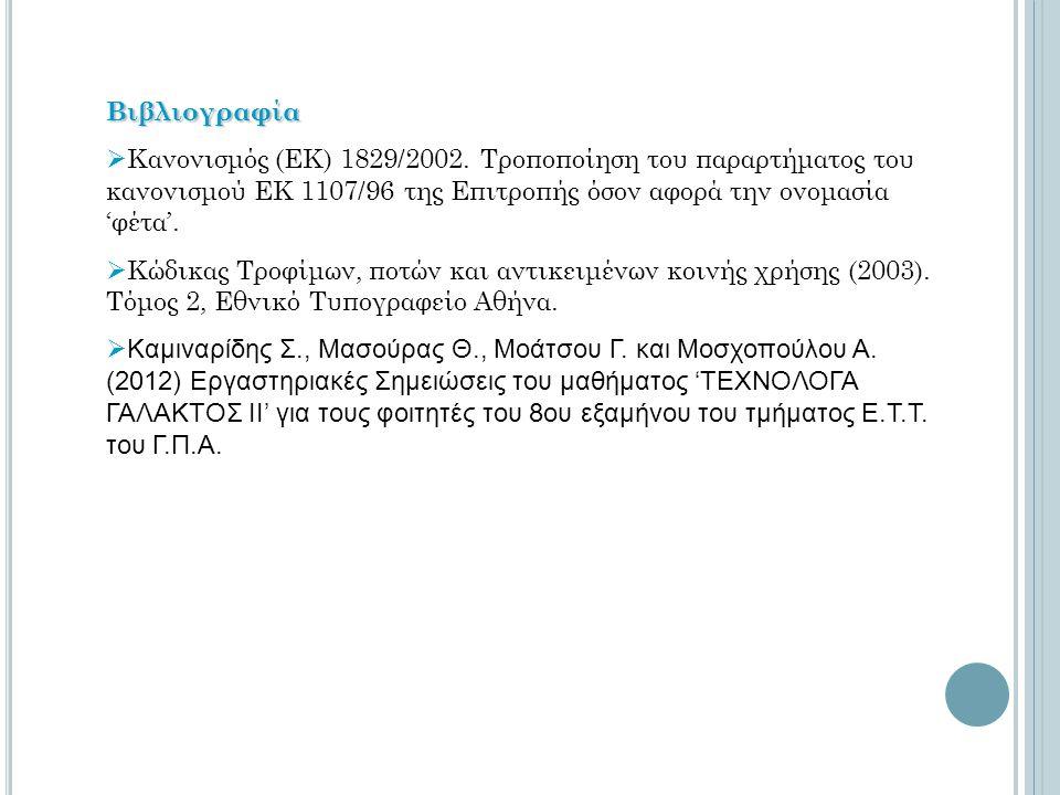 Βιβλιογραφία  Κανονισμός (ΕΚ) 1829/2002. Τροποποίηση του παραρτήματος του κανονισμού ΕΚ 1107/96 της Επιτροπής όσον αφορά την ονομασία 'φέτα'.  Κώδικ