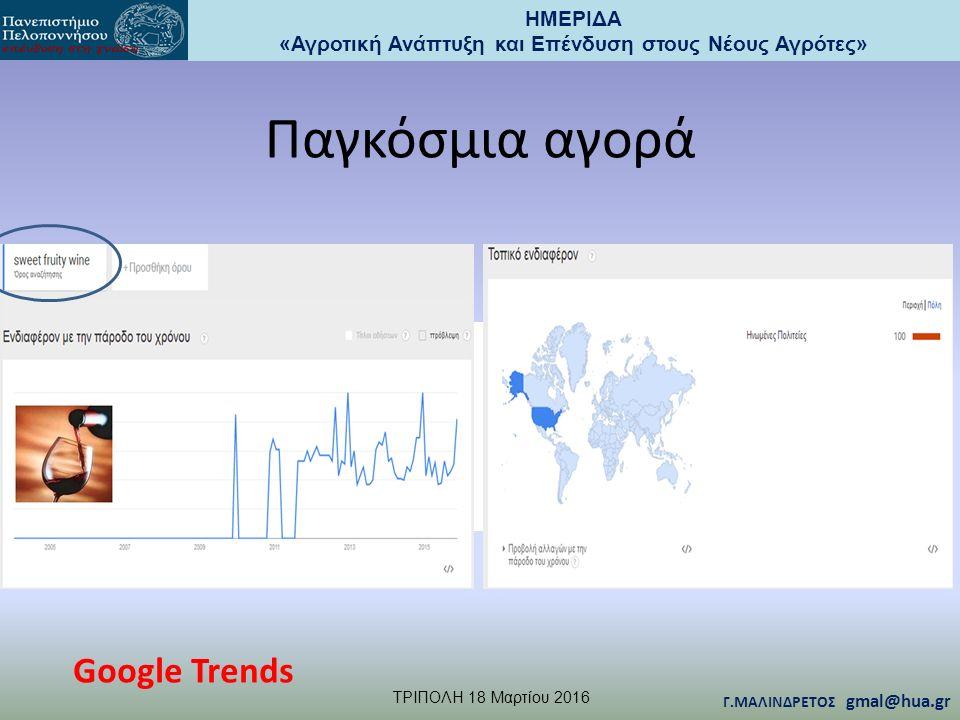 ΗΜΕΡΙΔΑ «Αγροτική Ανάπτυξη και Επένδυση στους Νέους Αγρότες» TΡΙΠΟΛΗ 18 Μαρτίου 2016 Γ.ΜΑΛΙΝΔΡΕΤΟΣ gmal@hua.gr Παγκόσμια αγορά Google Trends