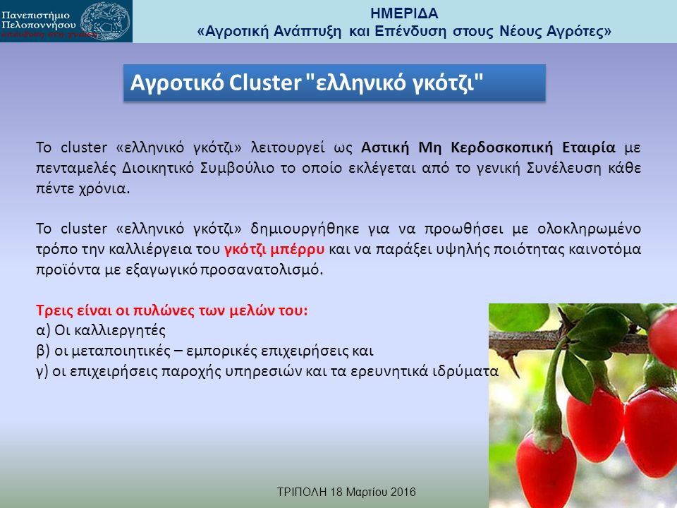 ΗΜΕΡΙΔΑ «Αγροτική Ανάπτυξη και Επένδυση στους Νέους Αγρότες» TΡΙΠΟΛΗ 18 Μαρτίου 2016 Γ.ΜΑΛΙΝΔΡΕΤΟΣ gmal@hua.gr Το cluster «ελληνικό γκότζι» λειτουργεί ως Αστική Μη Κερδοσκοπική Εταιρία με πενταμελές Διοικητικό Συμβούλιο το οποίο εκλέγεται από το γενική Συνέλευση κάθε πέντε χρόνια.